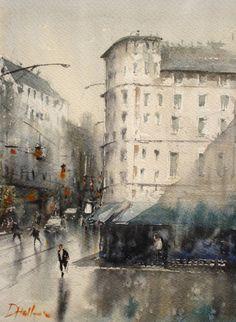 """Duncan Halleck, Watercolor Painting, """"Avenue Louise"""" 28x38cm, 2016"""