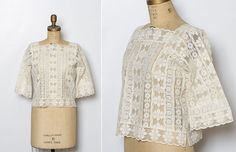 vintage 1970s ivory lace blouse by StopTheClock on Etsy
