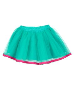 Twirl away in this girly tulle pull up skirt with elasticized waist and pink accent hem.