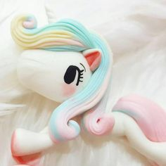 Ready to Ship Unicorn / Pony Flat Back Polymer Clay Doll /