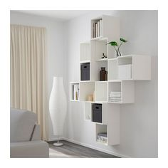 IKEA - EKET, Wall-mounted cabinet combination, white, , An asymmetrical storage solution that becomes personally yours when filled with your belongings. Cube Furniture, Flexible Furniture, Furniture Design, Plywood Furniture, Chair Design, Modern Furniture, Cube Shelves, Wall Mounted Shelves, Ikea Wall Shelves