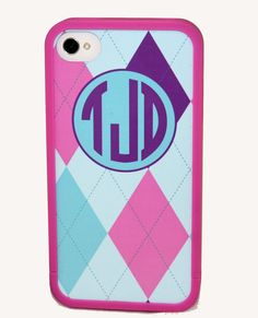 Monogram Iphone Case Argyle Preppy Girly Case Personalized on Etsy, $25.00