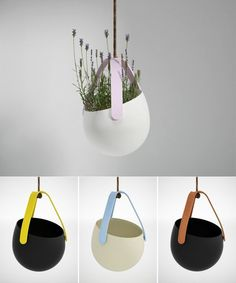 Display your affinity for greenery with Sling hanging planter by JokJor. These planters also double up as elegant home decor pieces. Diy Hanging Planter, Outdoor Planters, Concrete Planters, Diy Planters, Indoor Outdoor, Elegant Home Decor, Elegant Homes, Greenery, Design Inspiration