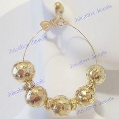 CLIP ON 2.5 inch Gold Tone Hoop Rhinestone Handmade Non-Pierced Earrings V26 #Handmade #Hoop