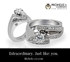 Award winning ring design featured in 14 karat white gold with shadow wedding band. facebook.com/MicheleCoJewelers