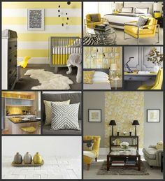 Decor in yellow & gray, my favorite color combo