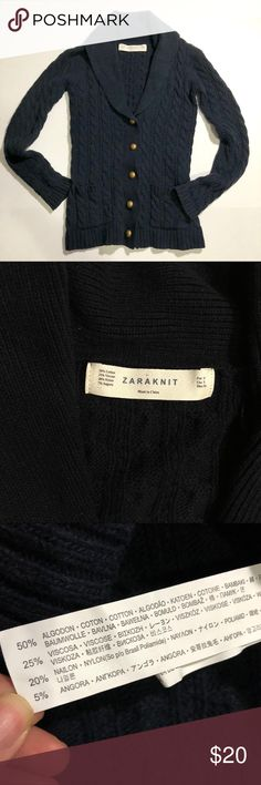 ZARA Knit cable cardigan navy blue ZARA Knit cable cardigan navy blue with golden buttons Size S See photos for measurement Smoke free house Only worn a few times, great condition Zara Sweaters Cardigans