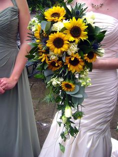 Cascading Sunflower Rose Thistle Bridal Bouquet