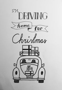 I'm Driving home for Christmas. Handlettering Kerst Juvejo 2016-12-10