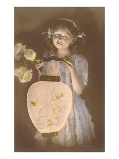 paintings of girls with lanterns | Young Girl with Chinese Lantern Premium Poster at Art.com