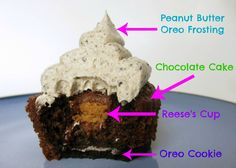 Peanut Butter Oreo Cupcakes: Oreo cookie on the bottom, chocolate cake stuffed with a mini Reese's cup, topped with peanut butter Oreo frosting. The best cupcakes I've ever made.
