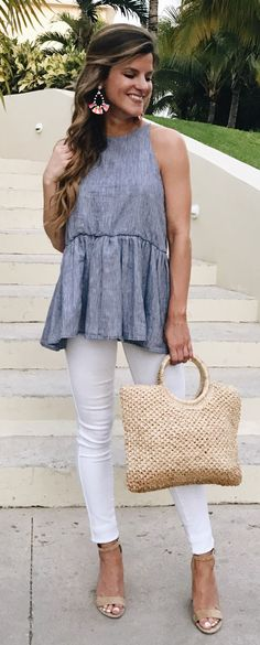 #spring #outfits Grey Top & White Skinny Jeans & Nude Sandals