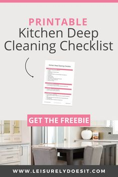 Grab this free printable Kitchen Cleaning Checklist to get a step-by-step deep cleaning routine that won't take you all day. Deep Cleaning Checklist, Deep Cleaning Tips, Cleaning Hacks, Cleaning Products, Cleaning Routines, Cleaning Schedules, Cleaning Solutions, Clean Kitchen Cabinets, Kitchen Cleaning