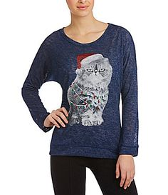 Moa Moa Christmas Cat Top #Dillards