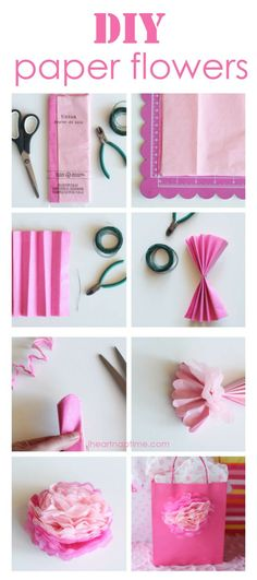 DIY tissue paper flowers. Click on image for more. Great idea for little bags full of makeup for a special friend.