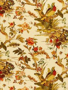 """Le Faisan Chinoiserie - Spice  Product ID:  Sch 173082 Manufacturer:  Schumacher Fabric Width:  54"""" Content:  100% Cotton Horizontal Repeat:  27"""" Vertical Repeat:  0"""" Usage:  Multipurpose"""