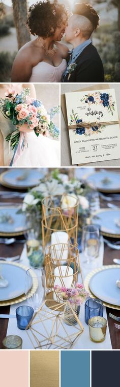 DOGWOOD + GOLD + BLUE + NAVY = SOFT, VINTAGE WEDDING COLORS Dreamy and calm, this palette evokes the soft light of magic hour. The navy balances and grounds the lighter shades of pink and blue, and the brushed gold adds a sophisticated touch, making this palette romantic and sophisticated, not saccharine. This fresh and ethereal palette would be perfect for a vintage style wedding.