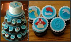 Smurf Cupcake Tower.  Buttercream cake, hand cut out decorations from fondant/gumpaste.  Completely edible.    CreativeCakeDesignsNC@gmail.com
