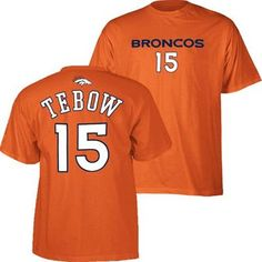 Denver Broncos Tim Tebow Name & Number T-Shirt (Orange)