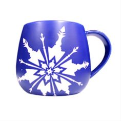 This sculpted, matte dark blue ceramic mug features an etching of the show's iconic snowflake and title. Logo Mugs, Pin Collection, Snowflakes, Sculpting, Musicals, Dark Blue, Frozen, Ceramics, Logos