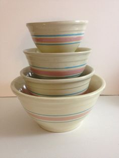 McCoy Set of 4 Striped Bowls Vintage 1970's by whitetrashupcycle
