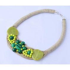 Naszyjnik lniany Malachit  w kwiatach Turquoise Bracelet, Bracelets, Jewelry, Malachite, Bangle Bracelets, Jewellery Making, Jewerly, Jewelery, Jewels