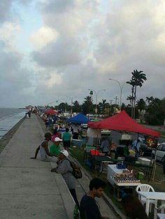 We sat here many a nite!!!! Seawalls. Georgetown, Guyana, South America.