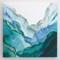In this imaginative watercolor-inspired printed landscape, mountains and valleys in vibrant shades of green-hued quartz and emeralds rise and fall across stretched canvas. Abstract Wall Art, Canvas Wall Art, Wall Art Prints, Poster Prints, Art Posters, Unique Wall Art, Vintage Wall Art, Large Wall Art, Art Mural Vert