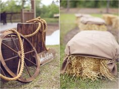 rustic wedding decor and hay bale ceremony seating, photo by http://www.twochicsphotography.com