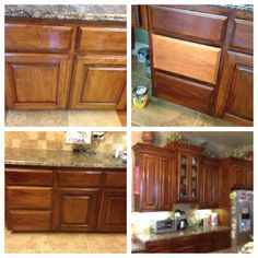 Before and after of my oak cabinets. Lightly sanded and then used gel stain to darken them.