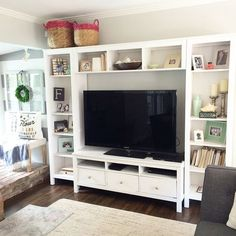 Ikea hemnes entertainment center living room home design ideas ikea hemnes Ikea Entertainment Center, Entertainment Ideas, Ikea Units, Ikea Tv Unit, Muebles Shabby Chic, Muebles Living, Home And Deco, Decorating On A Budget, Home Interior