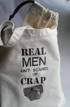 Canvas, Real Men Ain't Scared of Crap, Dad's Diaper Bag, Gift for new Dad, men's…