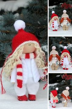 Christmas doll Winter doll Fabric doll Baby doll Tilda doll Red doll Soft doll Cloth doll Textile doll Rag doll Interior doll by Olga P - Mandeep Madden Dolls Red Dolls, Soft Dolls, Fabric Dolls, Baby Dolls, Doll Clothes, Textiles, Christmas Ornaments, Winter Christmas, Gifts