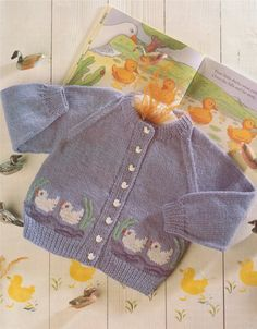 PDF Baby Toddlers Cardigan Knitting Pattern : Duck Motif . Childrens 20, 22, 24 and 26 inch chest . 51, 56, 61 and 66 cm . Boys or Girls
