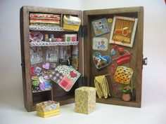 Sewing box  Dollhouses Miniature scale 112 by ArtislunaMiniaturas, €150.00