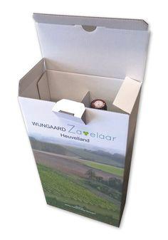 Bedrukte doos van golfkarton voor 2 wijnflessen in full color