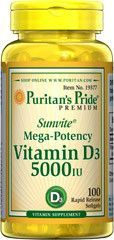 Puritan's Pride Vitamin D3 5000 IU - 100 capsules