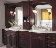 Fieldstone Cabinetry Glen Cove door style in Cherry finished in Burgundy.