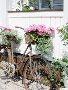 kesäkukat,maalaisromanttinen,piha,terassi Old Bicycle, Rose Cottage, French Country Style, Garden Structures, Balcony Garden, Porch Decorating, Garden Planning, Garden Inspiration, Outdoor Gardens