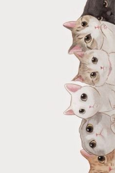 Cute Cats Vertical Aligned Illustration iPhone 6 Wallpaper
