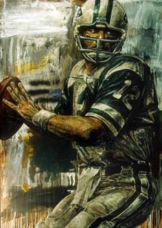 Stephen Holland - Art of the Stars - Sports Art by Stephen Holland and other… Jets Football, New York Football, Football Art, Football Helmets, Football Players, Nfl Jets, Football Stuff, Vintage Football, Joe Namath