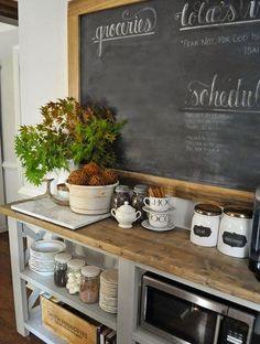 rustic style kitchen coffee bar chalkboard open cupboard storage space