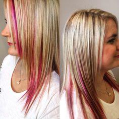 Effet de mèches violine et rose pastel avec balayage blond #faitmainbyArmonie