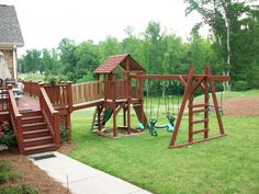 Play-set or monkey bars off of back deck.........Backyard Playground | Hand Crafted Wooden Playsets & Swing Sets - Gallery