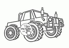 Monster Truck Grinder coloring page for kids