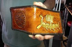 Wallet / Leather / Men / Hand Carved and Tooled / Runic Compass / Ship / Custom / Mjolnir / Nordic / Viking  / Hand Crafted / Bifold / Mans