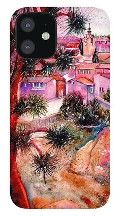Summertime In Roussillon Provence France IPhone 12 Case featuring the painting Summertime in Roussillon Provence France by Sabina Von Arx Provence France, Colorful Backgrounds, Create Yourself, Summertime, Original Paintings, My Arts, Phone Cases, Iphone, Artist