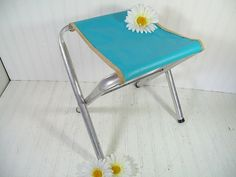Vintage Mid Century Turquoise Atomic Vinyl & Aluminum Camp Chair - Retro Mad Men Blue Industrial LightWeight Aluminum OutDoor Folding Stool $37.00 by DivineOrders