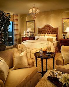 Interior Design: Luxury Bedrooms by Steven G...I like the tight, cozy couch, chair, table placement