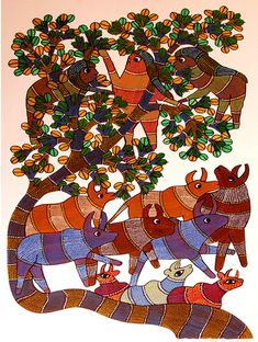 Gond Art from Madhya Pradesh by The India Craft House India Crafts, Home Crafts, Arts And Crafts, Gond Painting, Craft House, Kitchen Walls, Indian Folk Art, Madhya Pradesh, Tribal Art